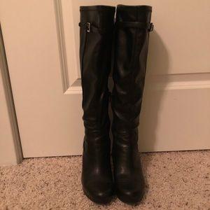 Nine West Black Leather Boots Sz 6